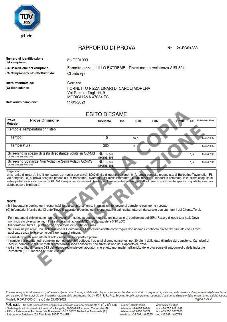 Fornetto ILLILLO Extreme Certificazione resistenza AISI 321 pag.1