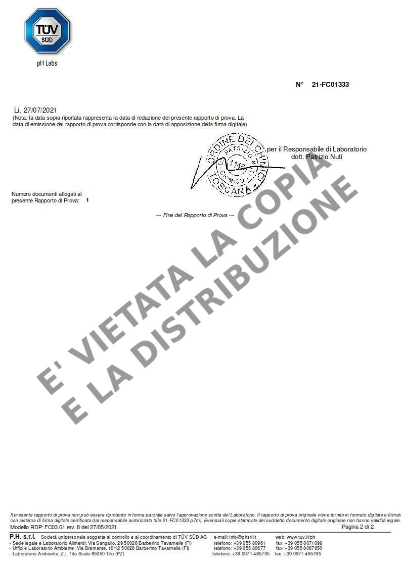 Fornetto ILLILLO Extreme Certificazione resistenza AISI 321 pag.2