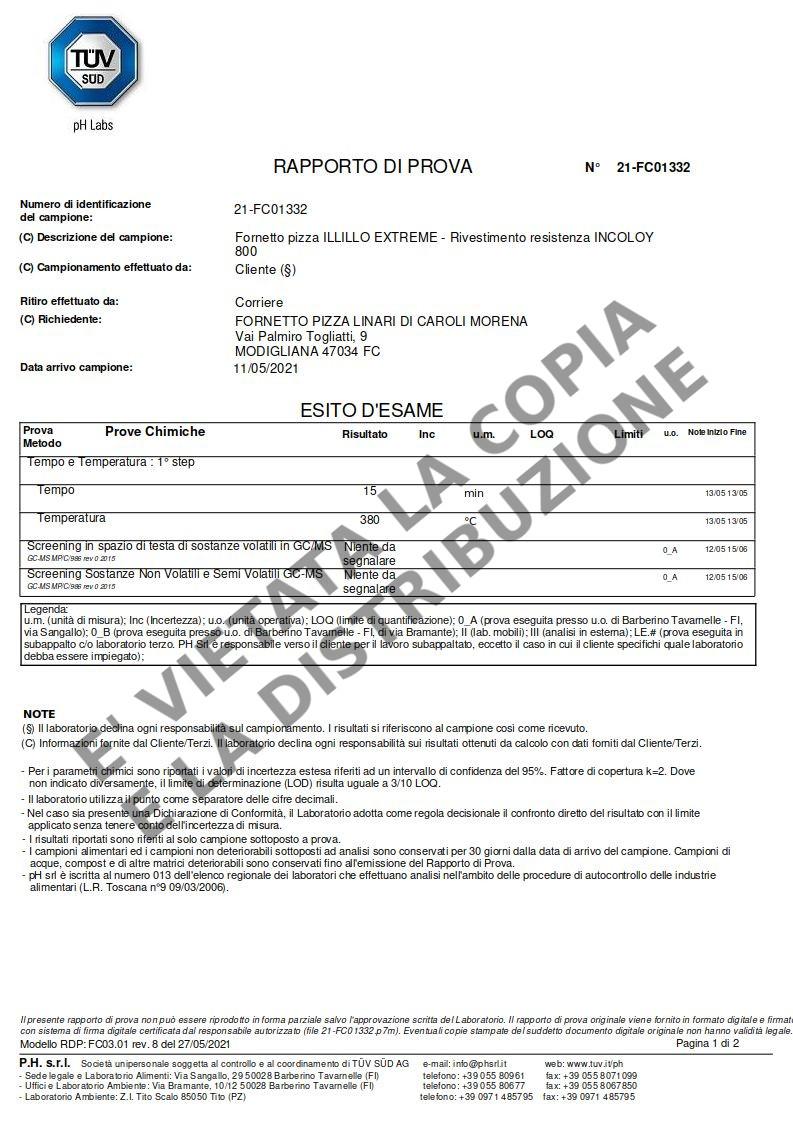 Fornetto ILLILLO Extreme Certificazione resistenza INCOLOY pag.1