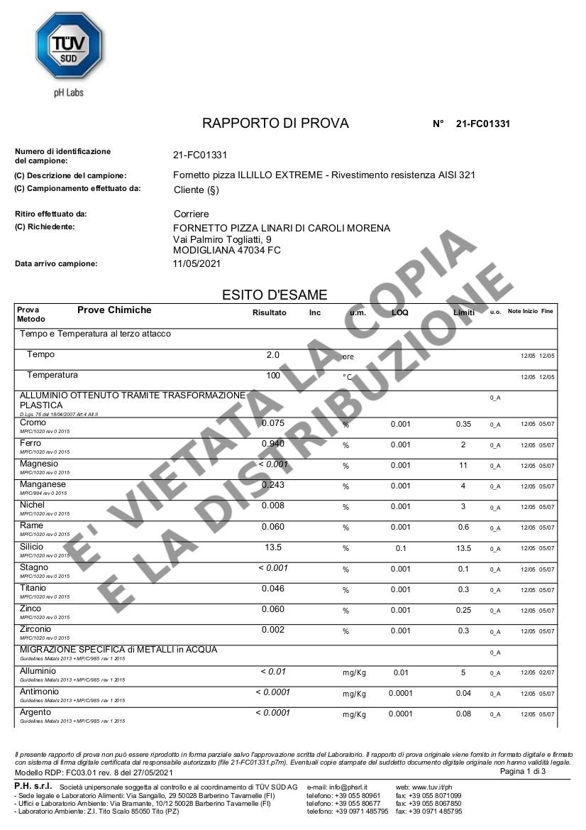 Fornetto ILLILLO Extreme Migrazione resistenza AISI 321 pag.1